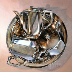 Lorena Kloosterboer (acrylic). This is a curious painting--three angles of the same pot, all on a tray. It looks like an exercise, but it's beautifully done.