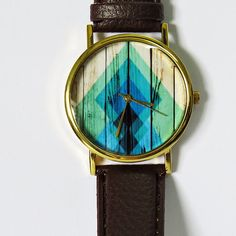 Rhombus Gradient on Wood  Watch Vintage Style Leather by FreeForme