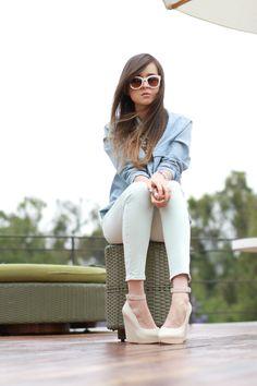 chambray shirt + pastel skinny jeans