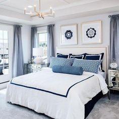 Blue Master Bedroom, Master Bedroom Design, Home Decor Bedroom, Bedroom Ideas, Master Bedroom Color Ideas, Nautical Bedroom, Bed Ideas, Bedroom Bed, Master Suite