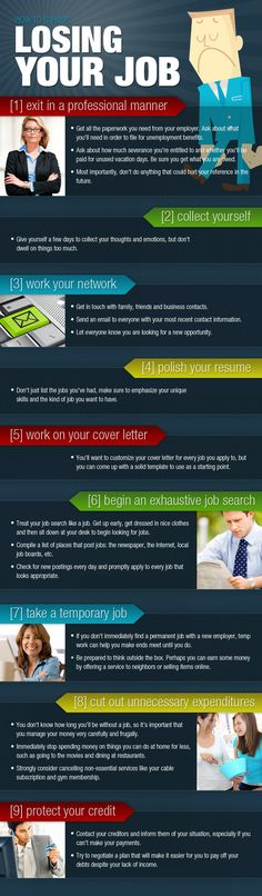 How To Survive Losing Your Job (INFOGRAPHIC)  -  found at http://www.manolith.com/ 2012/05/04/how-to-survive-losing-your-job-infographic/