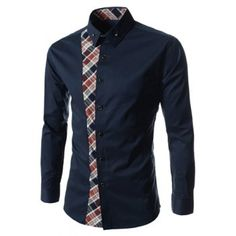 $13.84 Casual Style Turn-down Collar Colorful Checked Print Personality Embellished Long Sleeves Men's Shirt