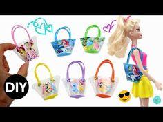 DIY Disney Princess and Barbie Mini Beach Bags for Dolls Cute and Easy/Dollhouse. - DIY Disney Princess and Barbie Mini Beach Bags for Dolls Cute and Easy/Dollhouse. Sewing Barbie Clothes, Barbie Dolls Diy, Barbie Shoes, Barbie Clothes Patterns, Diy Doll, Dollhouse Accessories, Barbie Accessories, Diy Barbie Furniture, Dollhouse Furniture