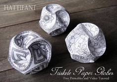 Hattifant - Triskele Paper Globes - Paper Balls to color and craft - 10 different designs + blank template for endless creativity - video tutorial included