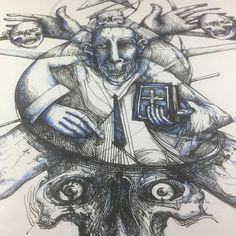 Large #darkart #ink #skull #drawing in progress