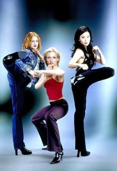 """Charlie's Angels"" movie still, L to R: Drew Barrymore, Cameron Diaz, Lucy Liu Charlies Angels Costume, Charlies Angels Movie, Cameron Diaz, Teresa Palmer, Mary Elizabeth Winstead, Drew Barrymore, Eva Green, Penelope Cruz, Jessica Chastain"