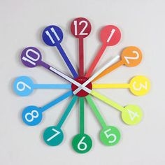 This would be awesome in our son's room! Take a look at this Rainbow Sunburst Wall Clock by Control Brand on today! Sunburst Clock, Clock For Kids, Clock Decor, Wall Clocks, Clock Craft, Metal Clock, Tabletop Clocks, Rainbow Connection, Over The Rainbow
