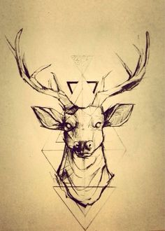 Geometric tattoos look pretty rad, want a deer tattoo so this tangles the two and looks pretty sweet! Future Tattoos, New Tattoos, Tatoos, Thigh Tattoos, Hand Tattoos, Sleeve Tattoos, Cervo Tattoo, Hirsch Tattoos, Geometric Deer