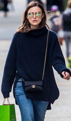 Keira Knightley By Purse Blog Chanel Mini Classic Flap Crossbody Bag Fall Street Style Inspo