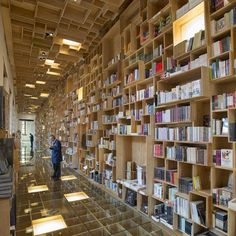 Renovated library featuring hundreds of wooden boxes on its walls and ceilings: http://www.dezeen.com/2014/02/06/mexico-city-library-renovation-taller-6a-bookshop… #interiors
