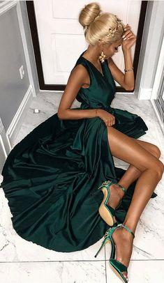 elegant dark green v-neck prom dress with split, sexy v-neck long dark green evening dress with split