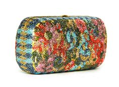 JUDITH LEIBER Multicolor Floral Minaudiere Clutch W. Strap | From a collection of rare vintage handbags and purses at http://www.1stdibs.com/fashion/accessories/handbags-purses/