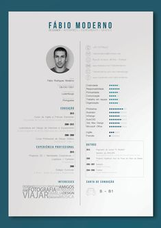 Curriculum Vitae by Fábio Moderno, via Behance -- interesses
