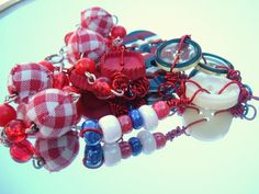 Red White and blue Patriotic Vintage Button OOAK handmade necklace from Spanky Luvs Vintage $22