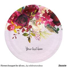 Flowers Bouquet For All Occassions Paper Plate Zazzle Com Baby