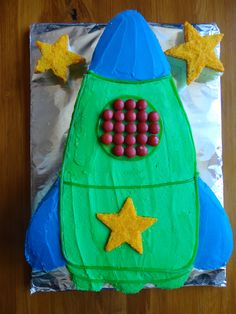 Rocket Ship Cake. I made this.