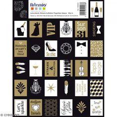 Sellos adhesivos decorativos - Gold - 3,3 x 2,7 cm - 64 pcs - Fotografía n°1 Scrapbooking, Stickers, Diy, Decoration, Advent Calendar, Creations, Sparkle, Holiday Decor, Printable