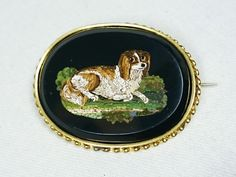 Victorian Antique Spaniel Dog Micro Mosaic Brooch Pin, Italy, Grand Tour, Black Glass, Souvenir Jewelry