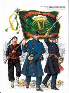 Left to Right--164th NY, 28th Mass., & 63rd NY Infantry  American Civil War Irish Regiments (Union)