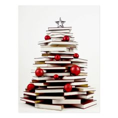 Book Christmas Tree Postcard