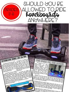 Help your students form stronger opinions (argumentative in 6th) and create quality written essays using fact-based paired texts about hover boards. Students are given an engaging focus question, then read these perfectly paired texts on a topic they actually WANT to write about. Students search the texts for reasons, evidence, examples, facts, and details that support their opinion, then organize their thoughts on the graphic organizer.