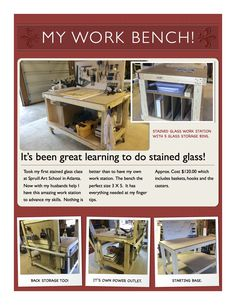 Stained Glass Work Bench 3 X 5 with 5 glass storage bins.