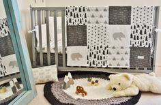 Woodland Nursery Crib Bedding Set with Mountains Bears Arrows Swiss Cross plus signs and Trees by SleepingLakeDesigns