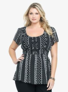 Polka Dot & Lace Print Empire Waist Top - this print looks super obnoxious....but I think it would look really good on me.
