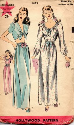 Hollywood 1479 1940s  Misses  Midriff Tie Top Skirt Nightgown womens vintage sewing pattern by mbchills