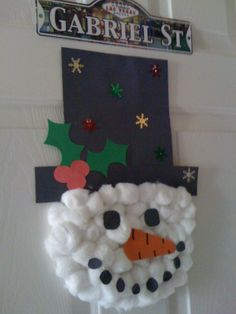 Cotton ball Snowman craft for kids. Easy Christmas craft for kids, preschool craft