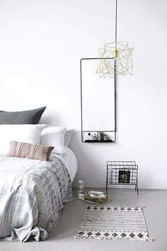 Grey and white, minimal chic bedroom idea