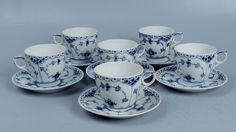 6 Old Royal Copenhagen Blue Fluted Half Lace Tea Coffee Cups 2 Saucers 576 - PC