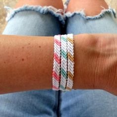 Go back Old School with these two color pattern friendship bracelets! Bright and fun addition to your Summer Fun. Pattern is 6.5 inches with extra inches of braids added for tying. Choose your favorite colors! Made with cotton embroidery floss Will ship in 2-3 Business Days. Shop All Boho Beach Bracelets HERE #diybraceletsideas