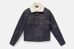Shearling Emil Cone Jacket, Raw Indigo