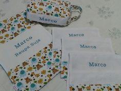 Kit escolar com necessaire grande bordada e plastificada + saco de roupa suja bordado e plastificado + 3 toalhas com barrado e borado - FUXICANDO COM ARTE www.facebook.com/fuxicandocomartesp