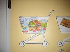 www.jufjanneke.nl | De supermarkt (lesideeën) Toddler Art, Toddler Crafts, Preschool Themes, Activities For Kids, Ppr, Vacation Bible School, Food Themes, Go Shopping, Grocery Store