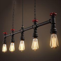 Loft designer industrial encanamento retro restaurante bar lâmpada lustre de ferro Americano iluminação lâmpadas retro pingente(China (Mainland))