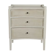 Janice ChestSCH-270305In StockThis transitional wood and fabric chest of drawers features a curved front and three drawers, graduated in size. The drawer fronts are elegantly inlaid with woven herringbone fabric to add texture, and dark metal hardware for contrast. The Janice Chest offers subtle coastal styling and functional small scale storage.Materials: Oak,BurlapFinishes: Antique IvoryOverall Dimensions: W26.5 x D15.75 x H32Number of Drawers: 3