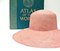 Women s Pink Vintage Wide Brim Panama Straw Hat by EitherOrFinds 4120323dae04