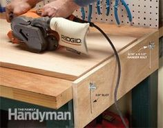 We looked at all of our clever DIY workbench upgrades and narrowed it down to these 10 winners. Each one helps you get the most from your hard-working workbench. Woodworking Workbench, Woodworking Workshop, Woodworking Crafts, Workbench Plans, Garage Workbench, Industrial Workbench, Portable Workbench, Mobile Workbench, Intarsia Woodworking