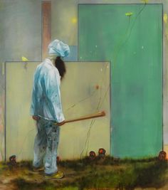 Nigel Cooke, Masterchef - The Final, 2010 Oil on linen backed with sailcloth 87 x 77 inches (220 x 195 centimeters)