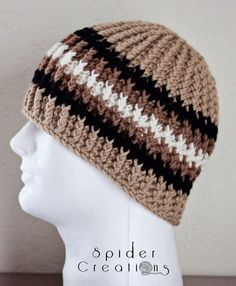 Tan, Black, and Cream Cabled Beanie Hat. $18.00, via Etsy.
