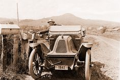 Yamhill County's first rural mail delivery by automobile on Yank loop, Muddy Valley. 1913.  Car is an air-cooled 1912 Franklin.