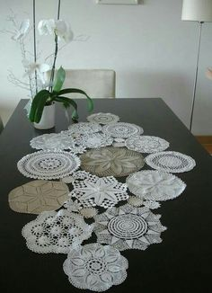 Doily Table Runner, Ready To Ship, Wedding Table Decoration With Handcrocheted Vintage Doilies Doilies Crafts, Lace Doilies, Crochet Doilies, Wedding Table, Diy Wedding, Doily Art, Crochet Table Runner, Vintage Lace, Table Runners