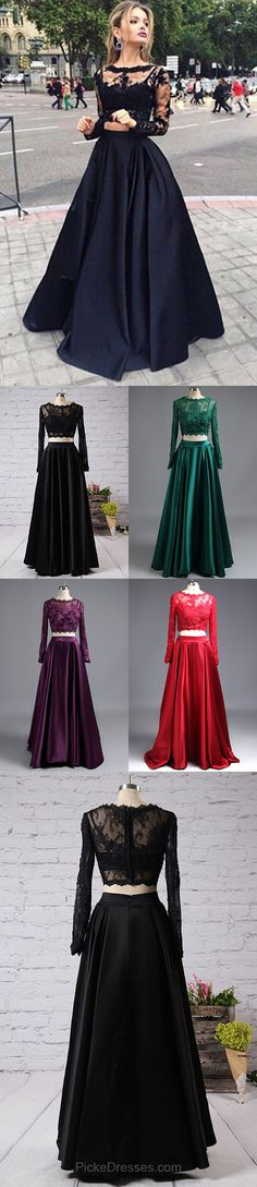 Black Tulle Elastic Woven Satin Appliques Lace Elegant Long Sleeve Two Piece Prom Dress