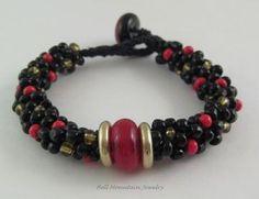 Red & Black Beaded Kumihimo Bracelet With Lampwork Beads SRA