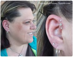Triple Forward Helix with prong-set CZ ends and 7-gem CZ flower center. Jewelry combo from ANATOMETAL AND NEOMETAL.