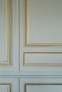 gold paint to accent moldings. This elegant, affordable method canlend a touch of Versailles even to a studio apartment.Use gold paint to accent moldings. This elegant, affordable method canlend a touch of Versailles even to a studio apartment. Wall Molding, Moldings, Molding Ideas, Painting Molding, Panel Moulding, Painting Walls, Diy Molding, Spray Painting, Wall Treatments