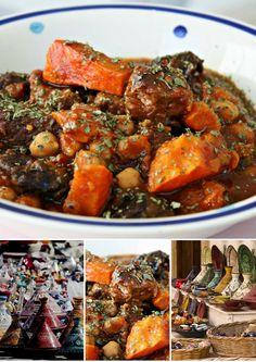 Marokkanische Rindfleisch Tajine mit Kichererbsen Kürbis und Pflaumen