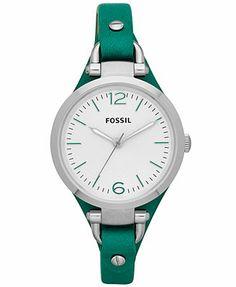 Fossil Watch, Women's Georgia Kelly Green Leather Strap 32mm ES3316